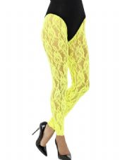 1980's Lace Neon Yellow Leggings
